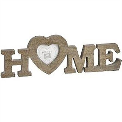 Brown Wooden Home Heart Frame - 3x3 Photograph Pictures Photo Letters Décor