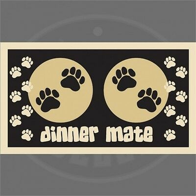 Black Paw Print Dog Food Mat - Pet Rebellion Dinner Mate Fully Machine Washable