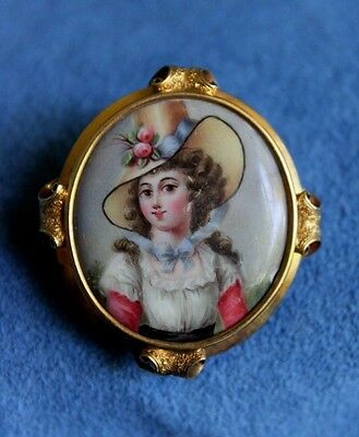 Antique English Victorian 15Ct Solid Gold Miniature Painting Portrait Brooch Pin