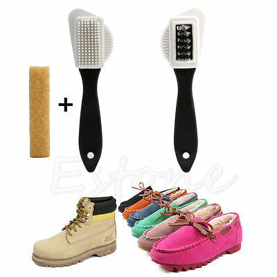 Cleaning Brush 3-Sides + Rubber Eraser Set for Suede Nubuck Shoes Boot Cleaner