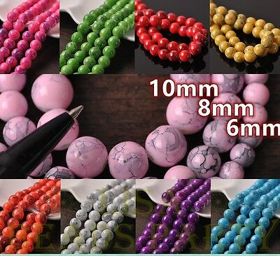 NEW 6mm 8mm 10mm Round Charms Loose Spacer Glass Beads Jewelry Making Wholesale