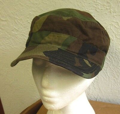 1980s hunting vtg round military hat camouflage cadet cap US Army