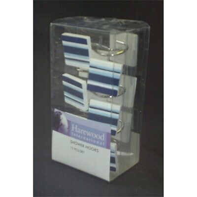 Blue Stripe Set Of 12 Shower Hooks - Pack Curtain With