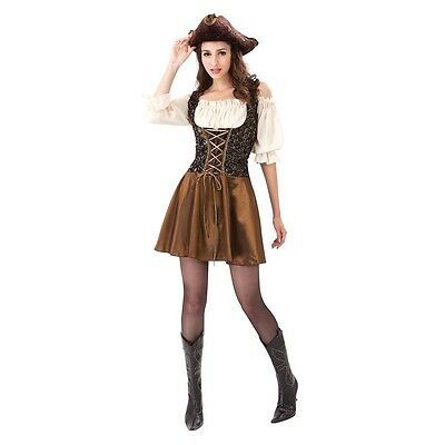 Gold Ladies Pirate Costume - Adult Womens Rose Caribbean Fancy Dress Outfit