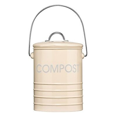 14.5cm x 18cm Cream Compost Bin - Premier Housewares With Handle Recycling