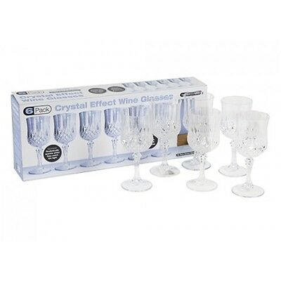6pc Clear Crystal Cut Wine Goblets (plastic) - Effect Glasses Tableware Dining