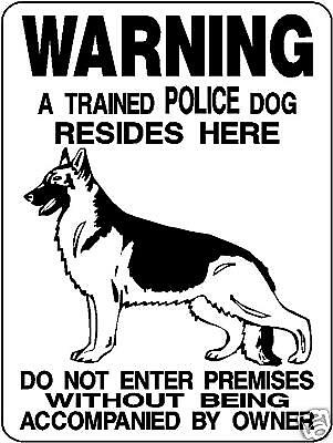"Police K-9 Warning Dog  Aluminum Sign 12"" X 9""  3391"