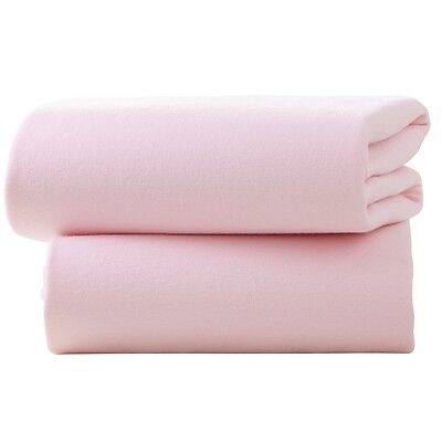 Clair De Lune Cot Cotton Jersey Fitted Sheets (pack Of 2, Pink) - Pink Bedroom