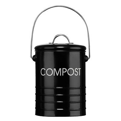14.5cm x 18cm Black Compost Bin - Premier Housewares With Handle Recycling