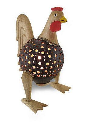 Recycled Coconut Shell Wooden Rooster Night Light Accent Lamp