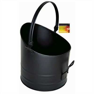 Black Round Fireside Bucket - With Handle Coal Logs Fireplace
