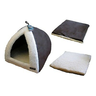"Chocolate & Cream Pyramid Cat Bed - Hem And Boo And Faux Sheepskin 16""x 16""x 14"""