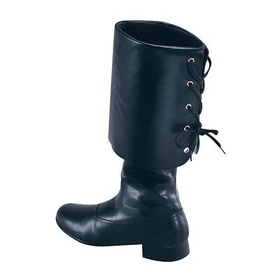 Small Black Unisex Buccaneer Boots - Pirate Costume Fancy Dress Party