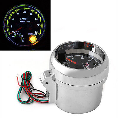 "New 12V Car Vehicle 3.75"" RPM Tachometer Tacho Gauge With Shift Light 0-8000"