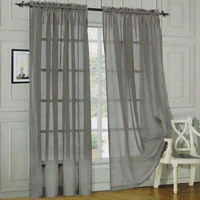 2x Valances Tulle Voile Door Window Curtain Drape Panel Sheer Scarf Divider Grey