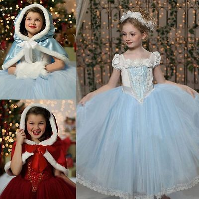 Frozen Cinderella Elsa Anna  Dresses Costume Princess Party Fancy   Dress + Cape
