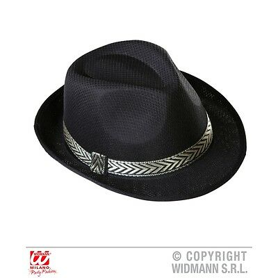 Adult's Black Panama Fedora - Hat Gangster Trilby Fancy Dress Costume Outfit