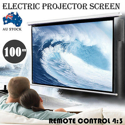 """100"""" Inch 3D Electric Motorised Projector Screen Home Theatre HD TV Projection"""