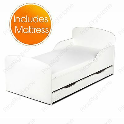 Plain White Mdf Toddler Bed + Mattress With Storage New