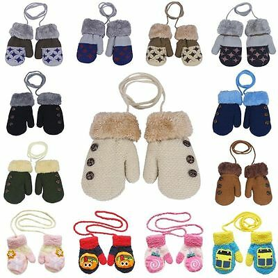 Newborn Baby Winter Warm Wood Knitted Gloves Outdoor Mittens Gloves For Kids New