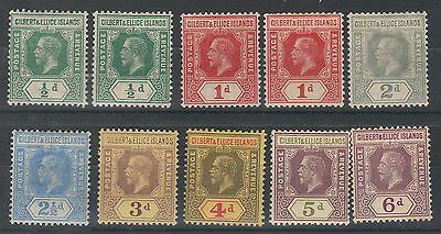 Gilbert & Ellice 1912 Kgv 1/2D To 6D Wmk Multi Crown Ca Plus 1/2D And 1D Shades
