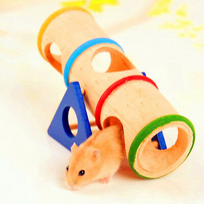 Wooden Colorful Rainbow Seesaw Cage House Hide Play Toy for Hamster Rat Mouse