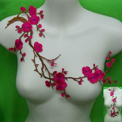 Plum Blossom Flower Iron on Sew Collar Patch Applique Red Embroidered Motif Lot.