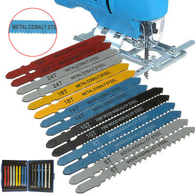 14PCS Metal T-Shank Assorted Jigsaw Saws Blade Kit 6/8/10/14/18/24/32 Teeth