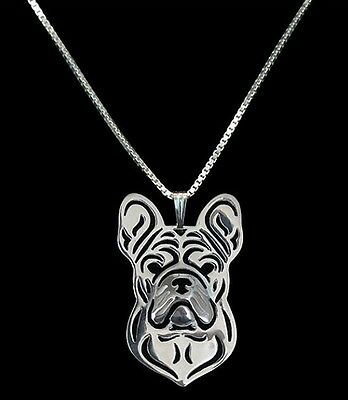 French Bull dog 3D Silver pendant necklace dog collectible C81E