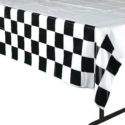 Car Racing Checkered Chequered Party Supplies Plastic Tablecloth Table Cover