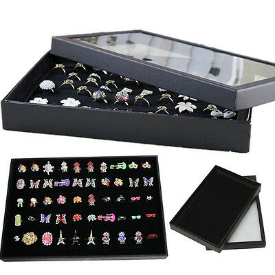 100 Rings Jewellery Display Storage Box Tray Show Case Organiser Holder Gift