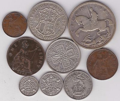 1935 George V Nine Coin Set Good Fine Or Better Includes The 1935 Silver Crown