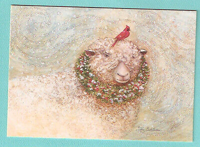 Sheep Lamb Cardinal Wreath Glittery Fully Decorated Christmas Cards Box 26