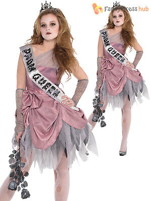 Ladies Zombie Prom Queen Costume Adults Halloween Fancy Dress Womens Outfit