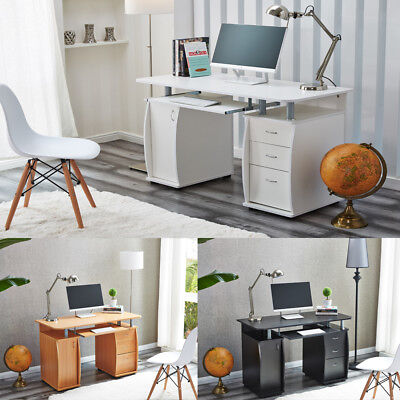 RayGar Deluxe Computer Desk With Cabinet and 3 Drawers for Home Office PC Table