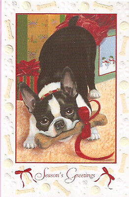 Boston Terrier Embossed Christmas Cards - Box of 16 Free P&P