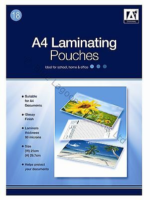 Pack of 18 A4 Laminating Pouches 80 micron Glossy Finish Laminate Laminator