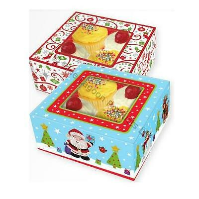 Pack of 4 Christmas Food Gift Boxes Festive Party Seasonal Gift