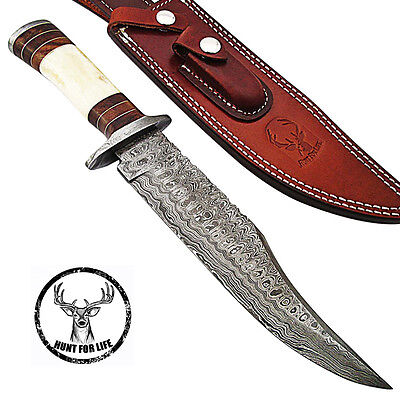 Hunt For Life™ Tahoe Basin Hunting Damascus Steel Full Tang Fixed Blade Knife