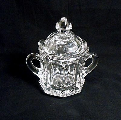 Vintage Elegant Crystal Sugar Candy Jelly Jam Covered Dish 8 Panel Side Pattern