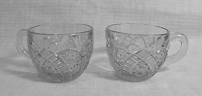 Lot 2  Vintage EAPG Hobstar & Arch Pattern Punch Cups  Clear