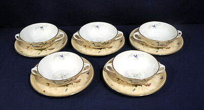 5 Coalport China Cairo 8327/E Multicolor Cream Soup and + Saucer Sets with Bird