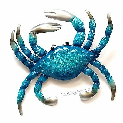 CRAB BLUE small Metal Wall Art for Indoor or Outdoor use, wall plaque, sign