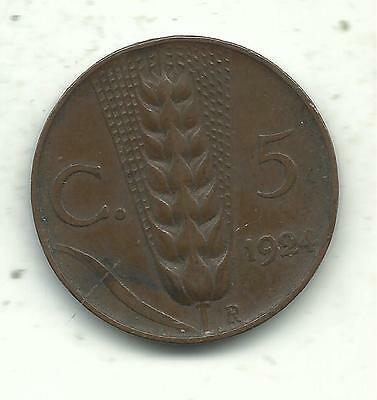 Vintage Very Nice Higher Grade1924 R Italy 5 Centesimi Coin-May536