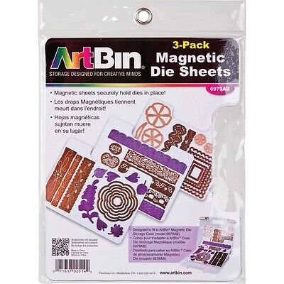 Pack Of 3 Magnetic Die Sheets - Artbin Secure Holder Easy Viewing And Storage