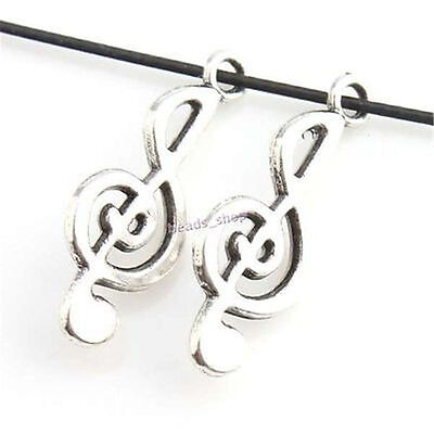 50pcs Antique Vintage Silvery Musical Notes Alloy Pendants Jewelry Making Lots J