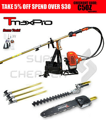 NEW Teammax 52CC 2IN1 BACKPACK Pole Chainsaw Hedge Trimmer Chain Saw