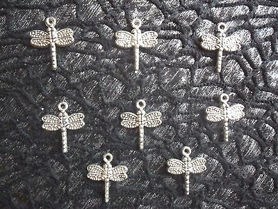 Bulk Lot 10 Tibetan Silver Plated Dragonfly Pendants Or Charms