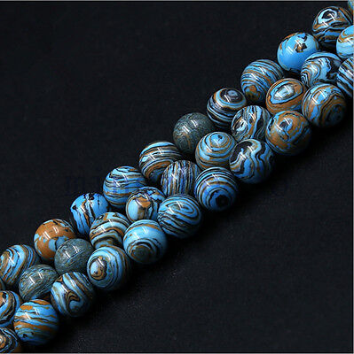 50Pcs Lt Blue Brown Stripe Turquoise Loose Spacer Beads Jewelry Findings 4Size