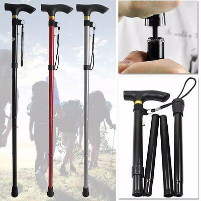 Adjustable Fold Folding Walking Stick  Hiking Trekking Trail Aluminium Cane Pole